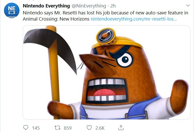R.I.P Mr. Resetti. .. A moment of silence for our sweet, angry mole child