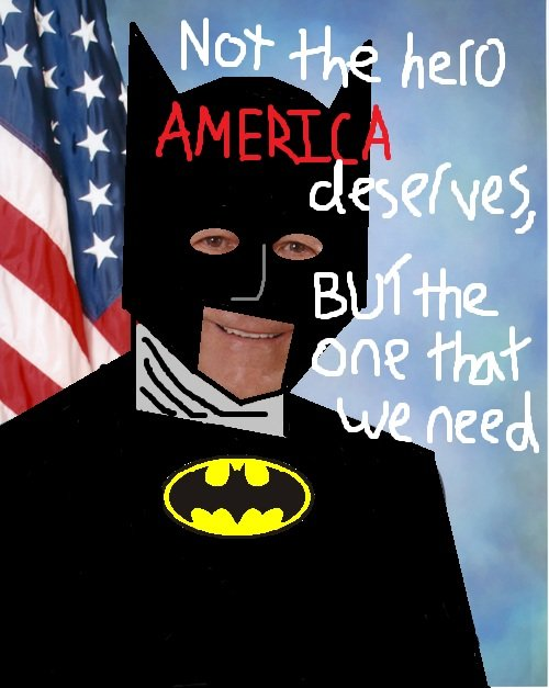 Ron Paul Batman. This guy is sponsored by...JUSTICE.. Take your politics to someone who cares.