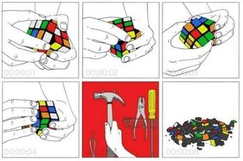 Rubix Cube Solution. .. simpler solution take all the stickers off... then youve beat it cause its all black