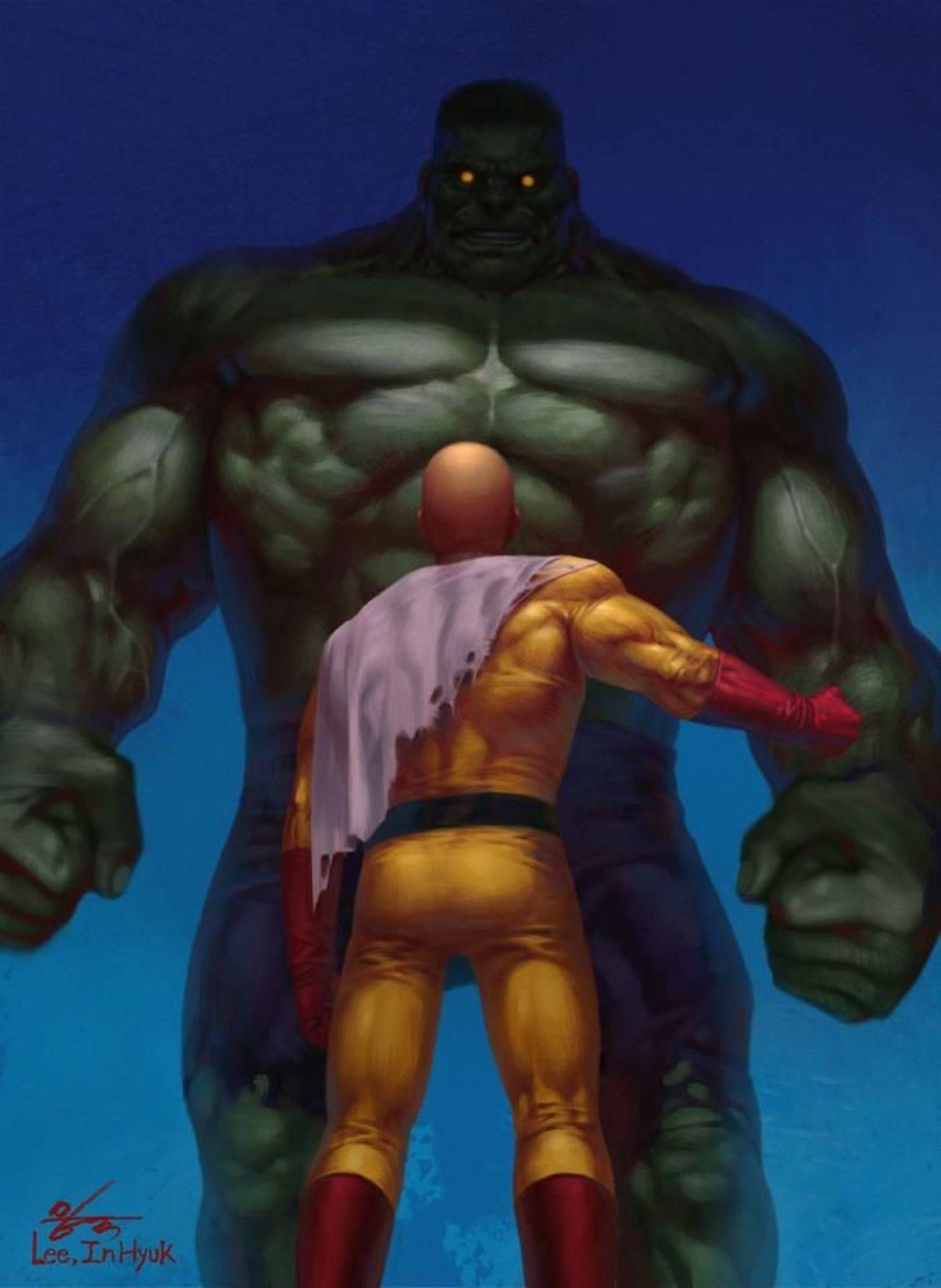 Saitama vs Hulk. .. It's been said before, and I'll say it again. Saitama isn't Hulk tier. He isn't Superman/Darkseid tier. He isn't Watcher tier. He isn't Goku tier. He isn't Jire