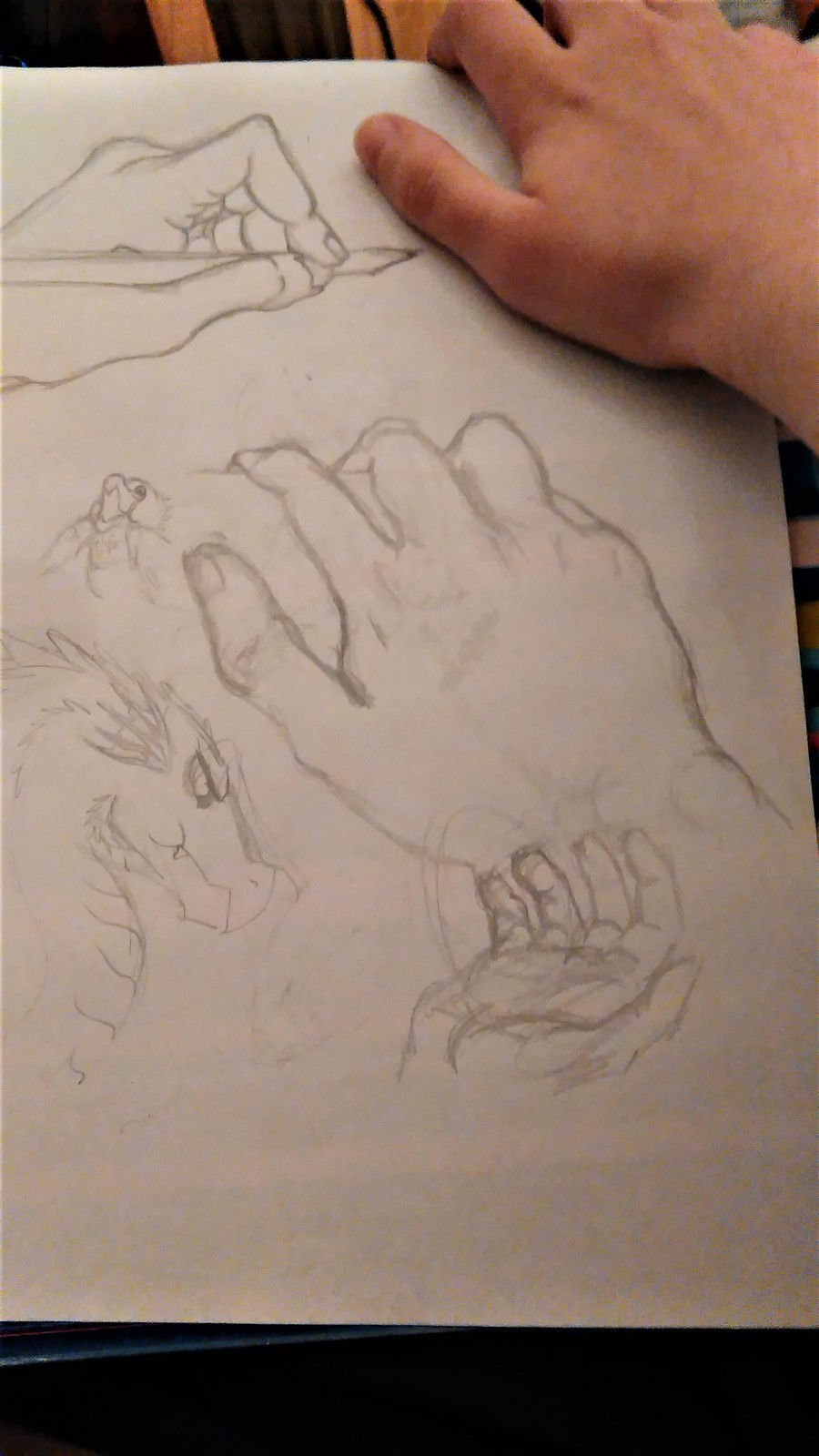 Scetching my hands. Sat down to practice drawing proportions but ended up scetching my hands after a while. Anatomy, proportions - it all has to do with drawing