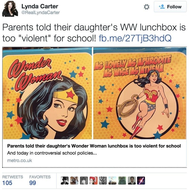 "School's Policy on Violence. . Lynda Carter 3 . Follow Parents told their daughter' s i/ l/ l/ l/ lunchbox is too ""violent"" for school! fto. me/ ) i, Parents to"
