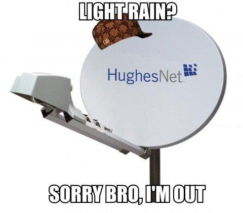 Scumbag HughesNet. HughesNet.. Hughes doesn't do too well in the rain.