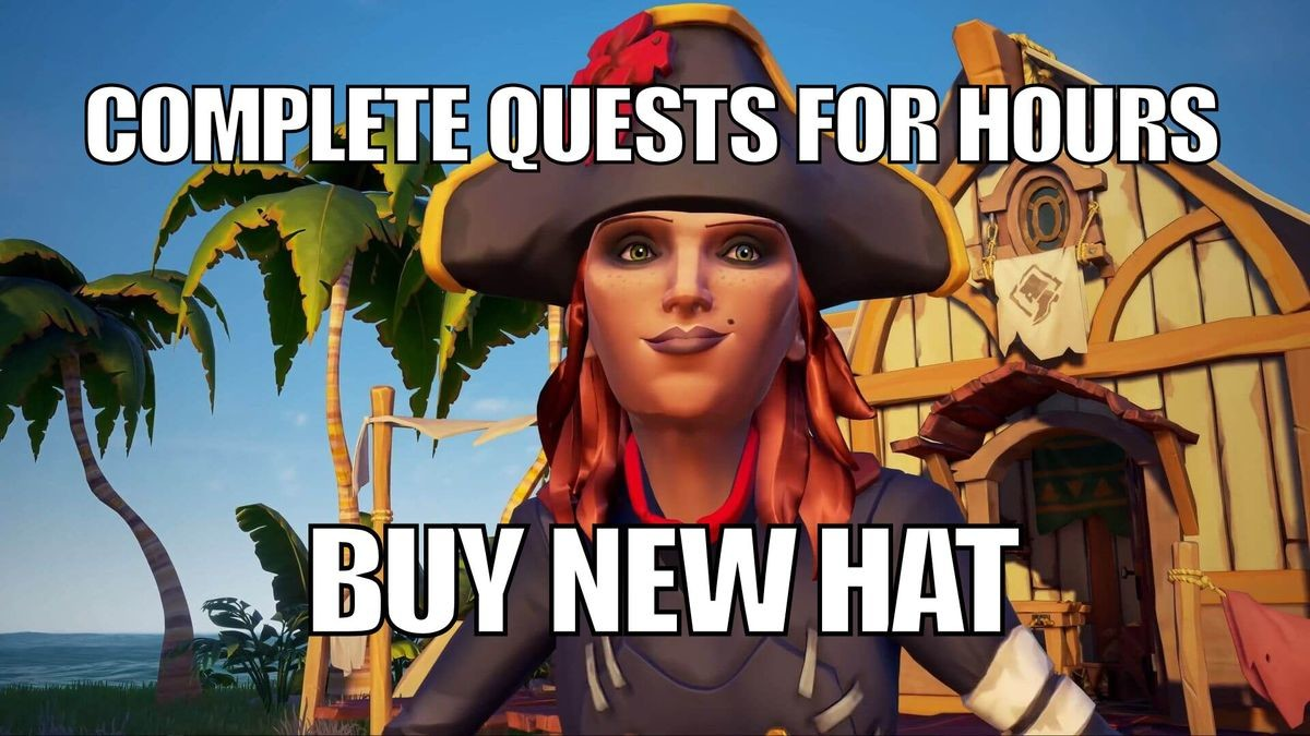 Sea Of Thieves - Hat. Because Sea Of Thieves . bi l NEW HA AL,, ii, ims. $60 for an incomplete game. Rare is following in the footsteps of EA, it would seem. What a sad state of affairs.