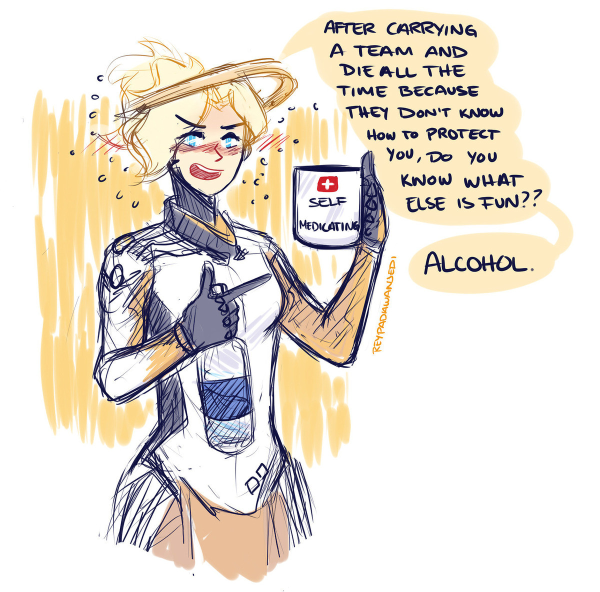 Self Medicating. join list: OverwatchStuff (1448 subs)Mention Clicks: 340012Msgs Sent: 2909874Mention History join list:. This is why I prefer Lucio when it comes to healing. Its not my fault you are not getting healed, its your fault for not staying with the rest of the group.