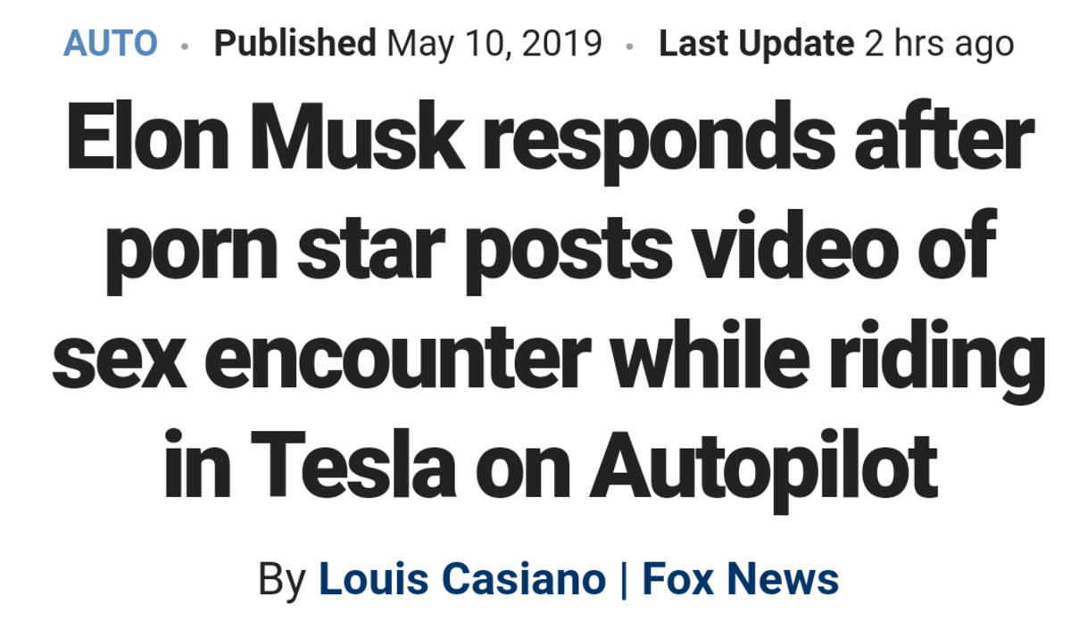 Sex in a Tesla. https://www.pornhub.com/view_video.php?viewkey=ph5c9046fe5fbee.. >When you nut but she keeps piloting