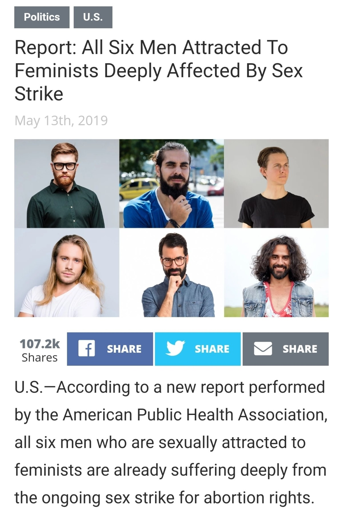 """Sex Strike"" Drags On. The six men in the nation who identify as feminist-attracted include Greg, Sebastien, Shiloh, Ansel, Jade, and Ashley. All of them are fr"