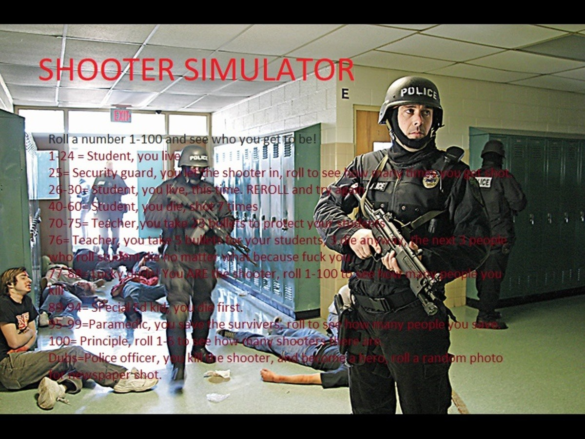 Shooter simulator!. Roll to choose your superhero!roll 1, 0-100 1-24= Student, You live 25= Security Guard, roll again 1-50 to see how many times you get shot 2