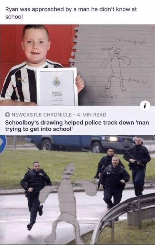 """skinny tenuous Deer. .. I can see a scenario where they got the guy in the interrogation room. An officer comes in saying """"We have an eye witness and a sketch that looks exactly l"""