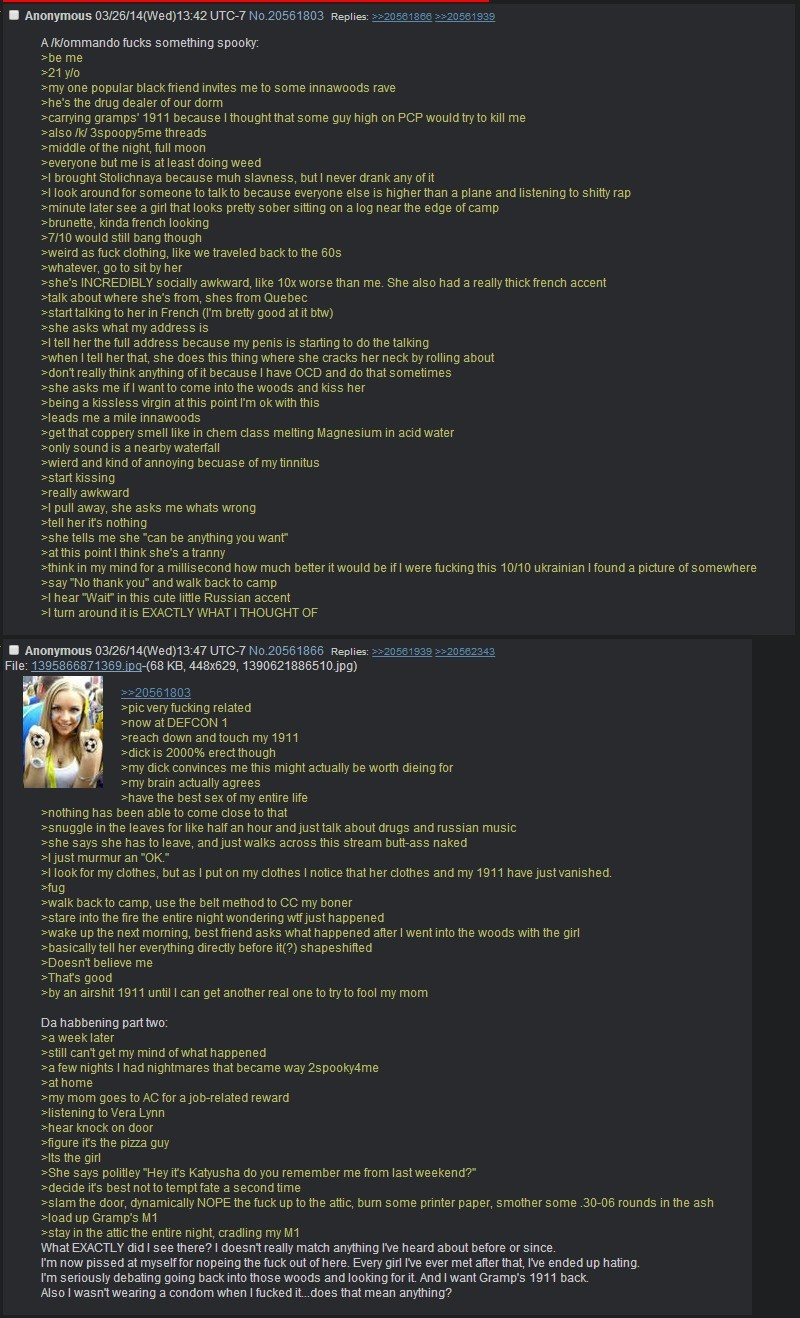 Skinwalker goes to anon's house. join list: Skinwalkers (231 subs)Mention History Seems like skinwalkers aren't all bad.. You saw a hippie ass naturalist girl trying to return your 1911 and get the dicc and you slammed the door in her face numbnuts.
