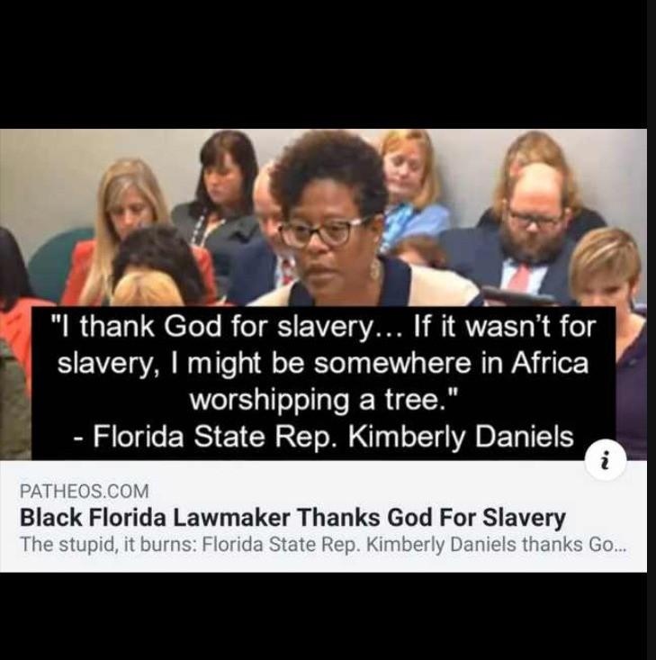 Slavery = good. .. She's not wrong.