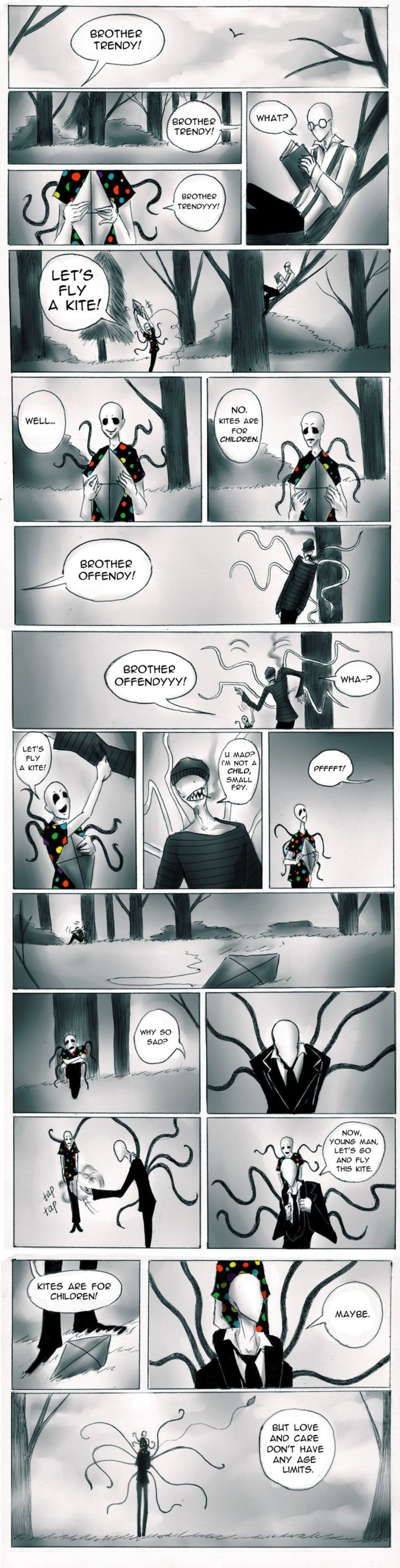 Slenderman Feels. Who says horrifying, eldritch entities can't be wholesome?.. is it implying pedophilia?