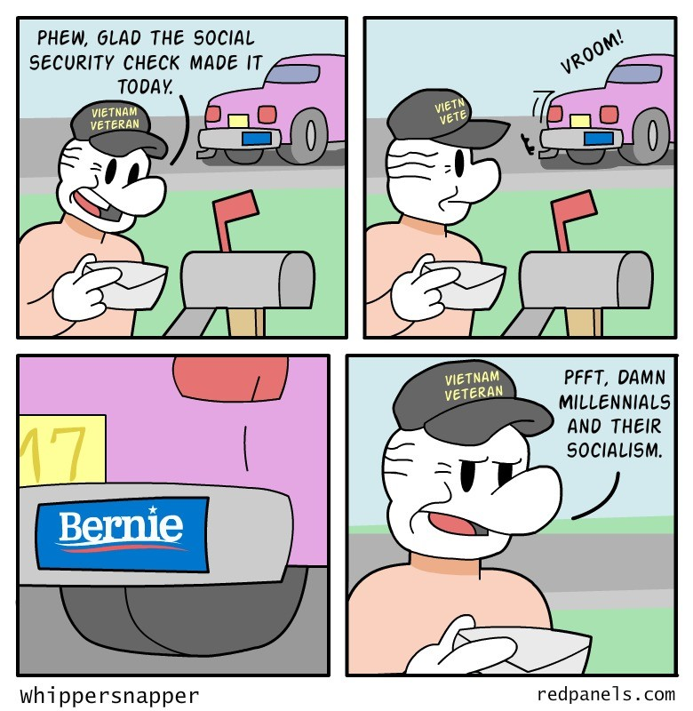 "Socialism. See more comics, visit: http://redpanels.com . PHEW. giuli) THE SECURITY CHECK IT I PFFT, DIIDN MILLENNIUMS Aili) THEIR whippersnapper "". The difference here is that one party had to go through one of the worst Wars ever fought in American history. While the other is demanding free so they can do"