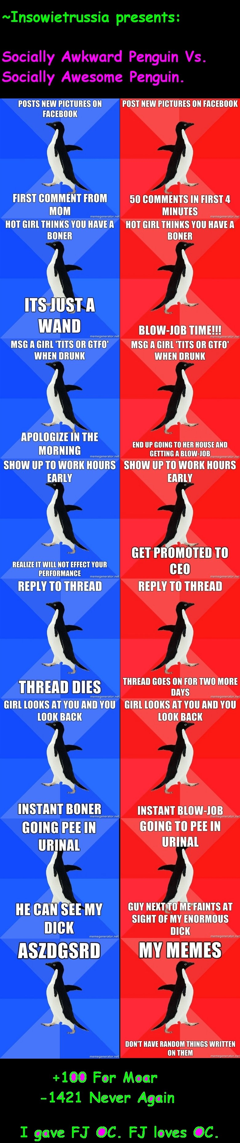 Socially Awkward vs. Awesome Penguin 1. For those of you who know, they were all deleted, I have no choice but to do it again so that the record of me making th