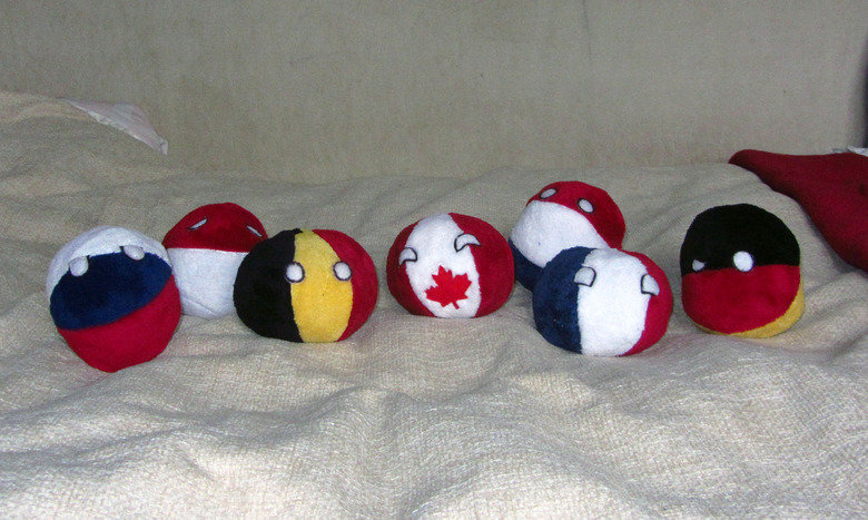 Some plushie Countryballs I made. I made some Countryballs. These are prototypes, but in the future I'm planning to make more of them. You can ask for unique ba
