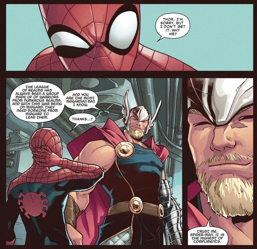 "Spiderling is worthy. .. Context? If anything, Thor would chose Steve for ""most manly man on Midgar"""