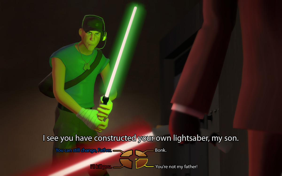 Star Fortress 2. . lightsaber, rny son. Bonk. not my father!. Bonk Droid