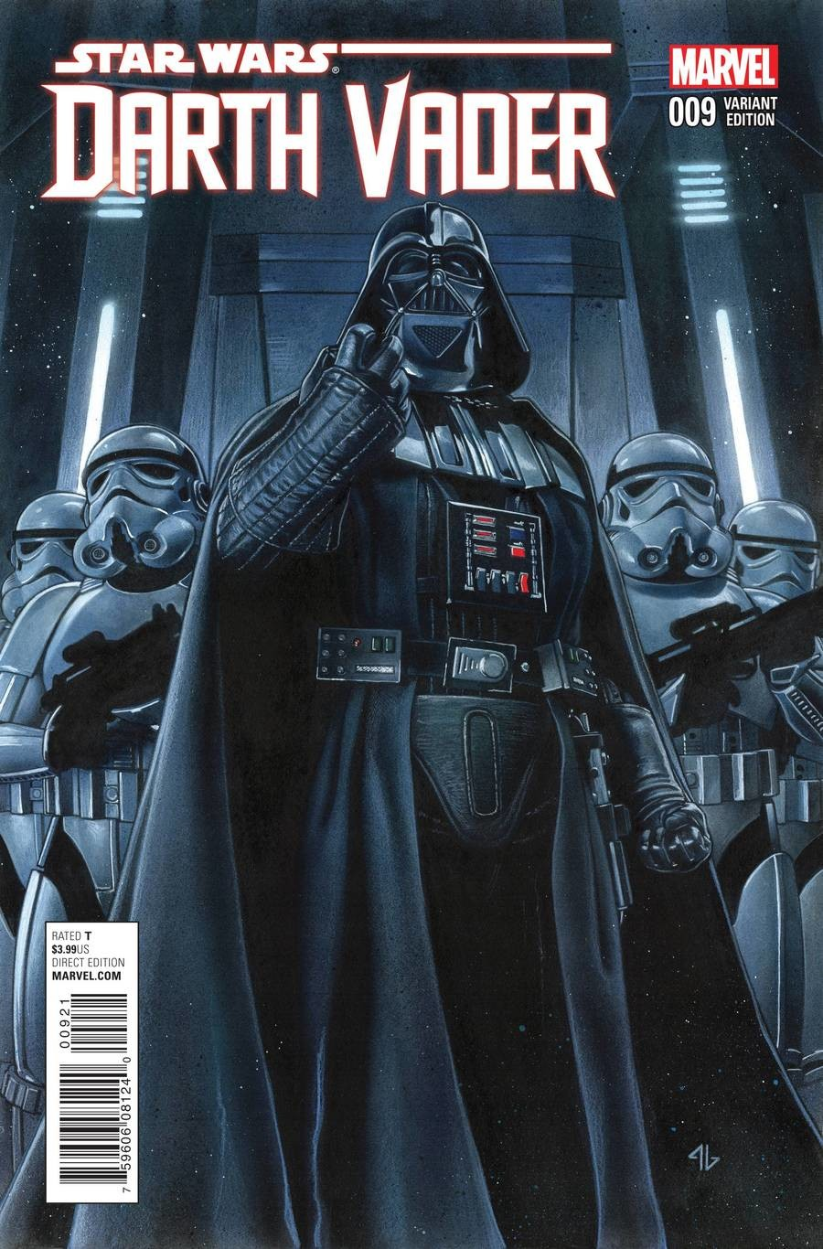 Star Wars Darth Vader issue 9. Issue number 9 of the canon Darth Vader comic series Click the lists mention history and these three links for every previous Dar