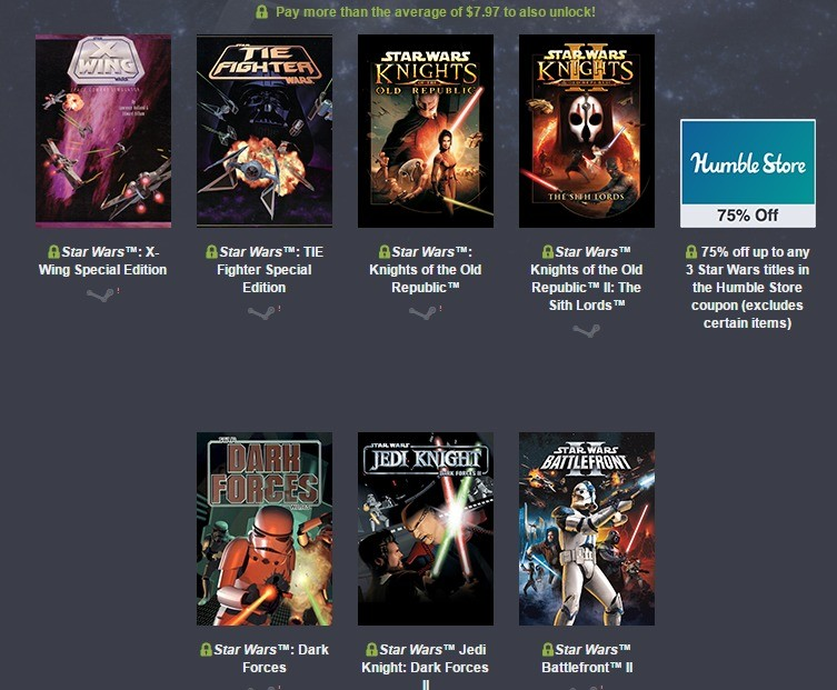 Star Wars Humble Bundle Sale. KotOR 1 and 2 and Battlefront are on sale right now for less than $8.00 total. I figured that there were a lot of people on here t