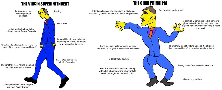 Steamed Hams but it´s a Virgin vs. Chad Meme. . THE VIRGIN Balding Isn' t prepared for an unforgettable luncheon Utica trash is too much of as beta to be allowe