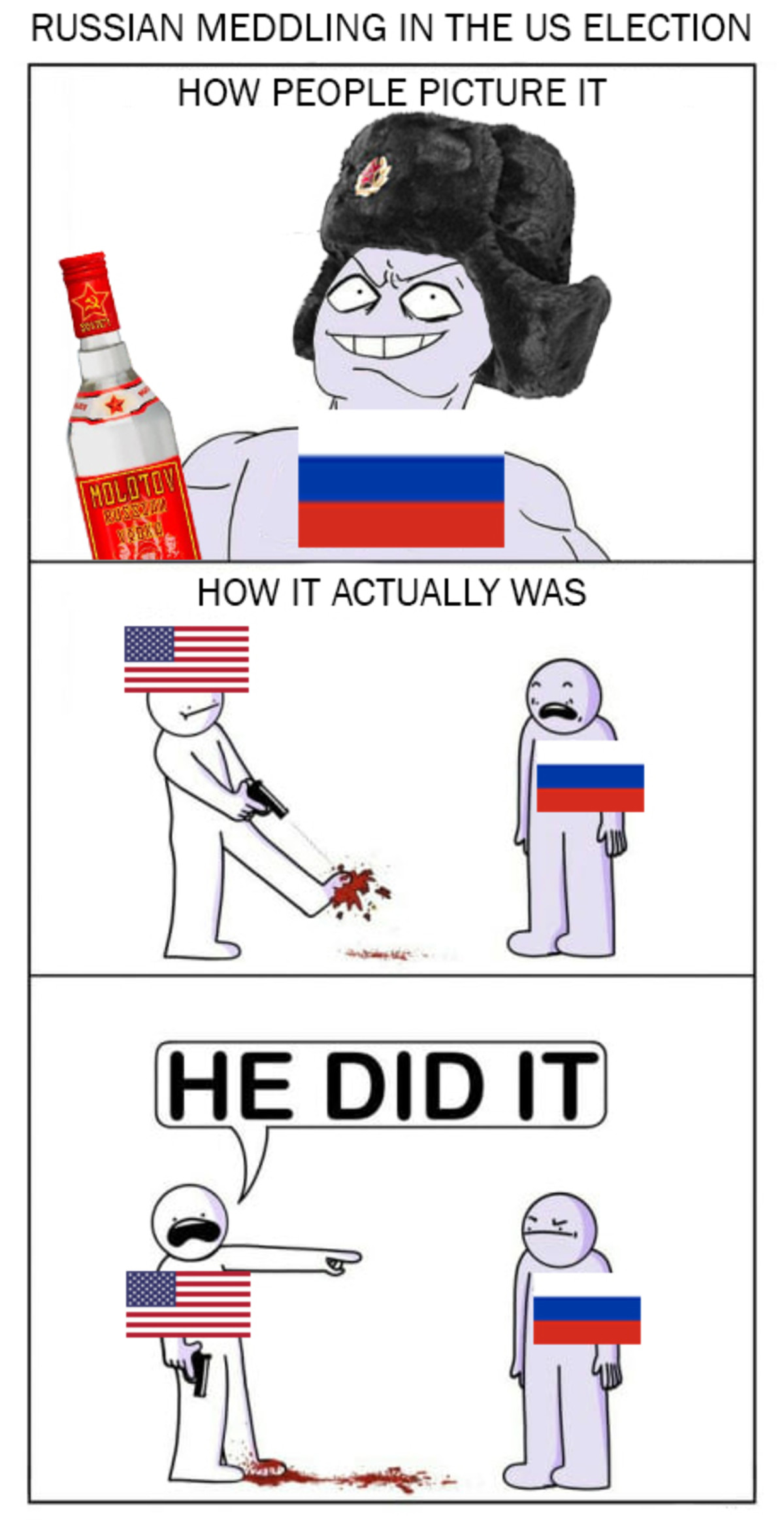 Still relevant. . RUSSIAN MEDDLING IN THE US ELECTION HOW PEOPLE PICTURE IT. I'm not up to date with the hottest new revelations, but I think the Russia did meddle in US election by supporting the nuttiest supporters of every candidate t