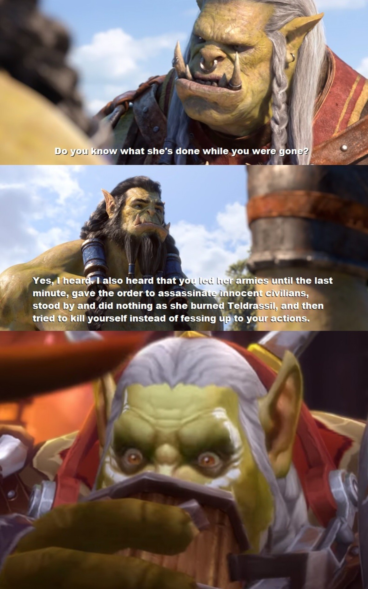 Story is a mess. .. Also giving Horde players the option to side with Sylvanas, only to be railroaded down the rebel quests anyway where Nathanos tells you to go along with sabotag