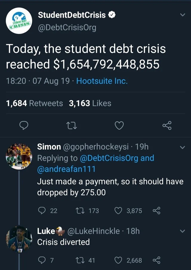 Student Debt. .. Like Just Stop going into debt for degrees