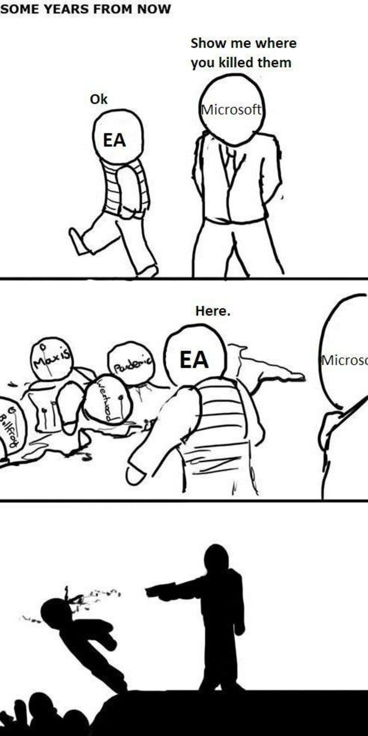 Sum day. join list: VideoGameHumor (1703 subs)Mention Clicks: 608037Msgs Sent: 5985465Mention History. SOME YEARS FROM NOW Show me where you killed them. I honestly hope Microsoft does buy EA in the near future. EA's games have a much less worse future with Microsoft than with EA itself.