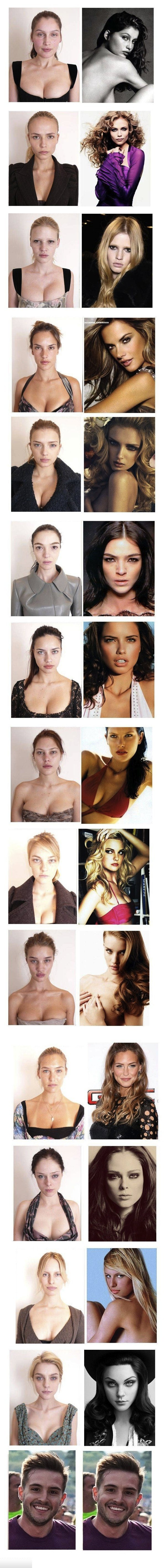 Supermodels without makeup. Can you spare a thumb?.