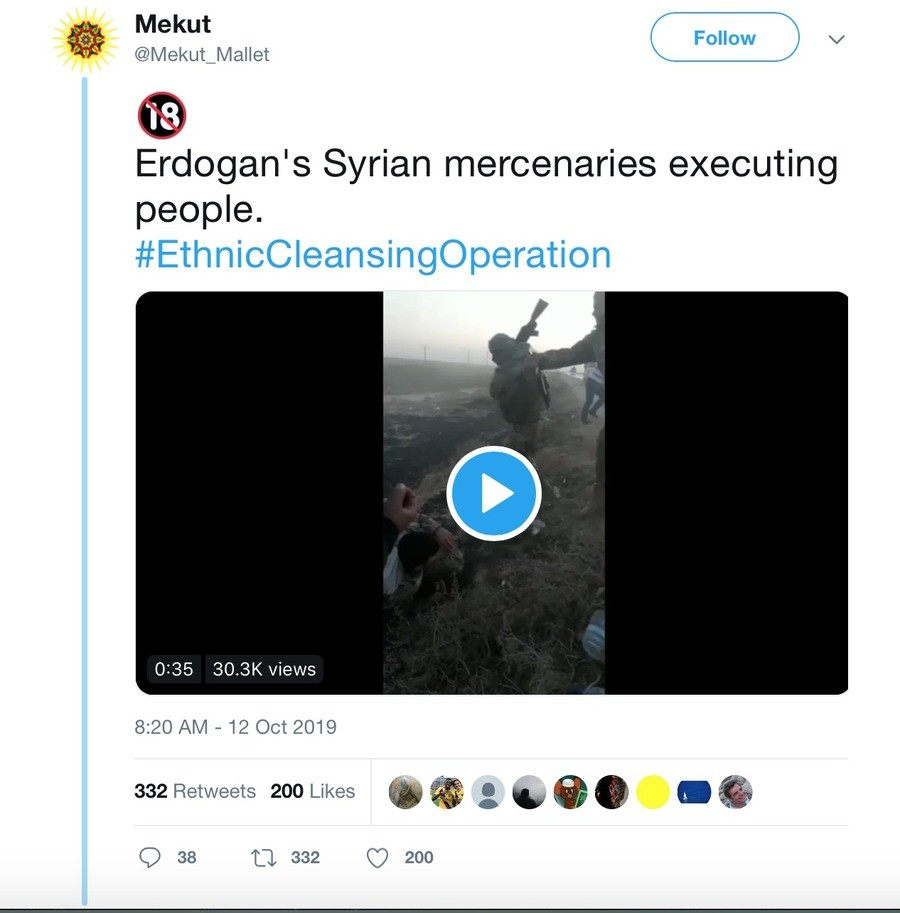Syrian Mercs Execute Kurdish Politician And Other Prisoners. WARNING: The videos in this twitter thread are graphic. According to multiple reports on Twitter, a