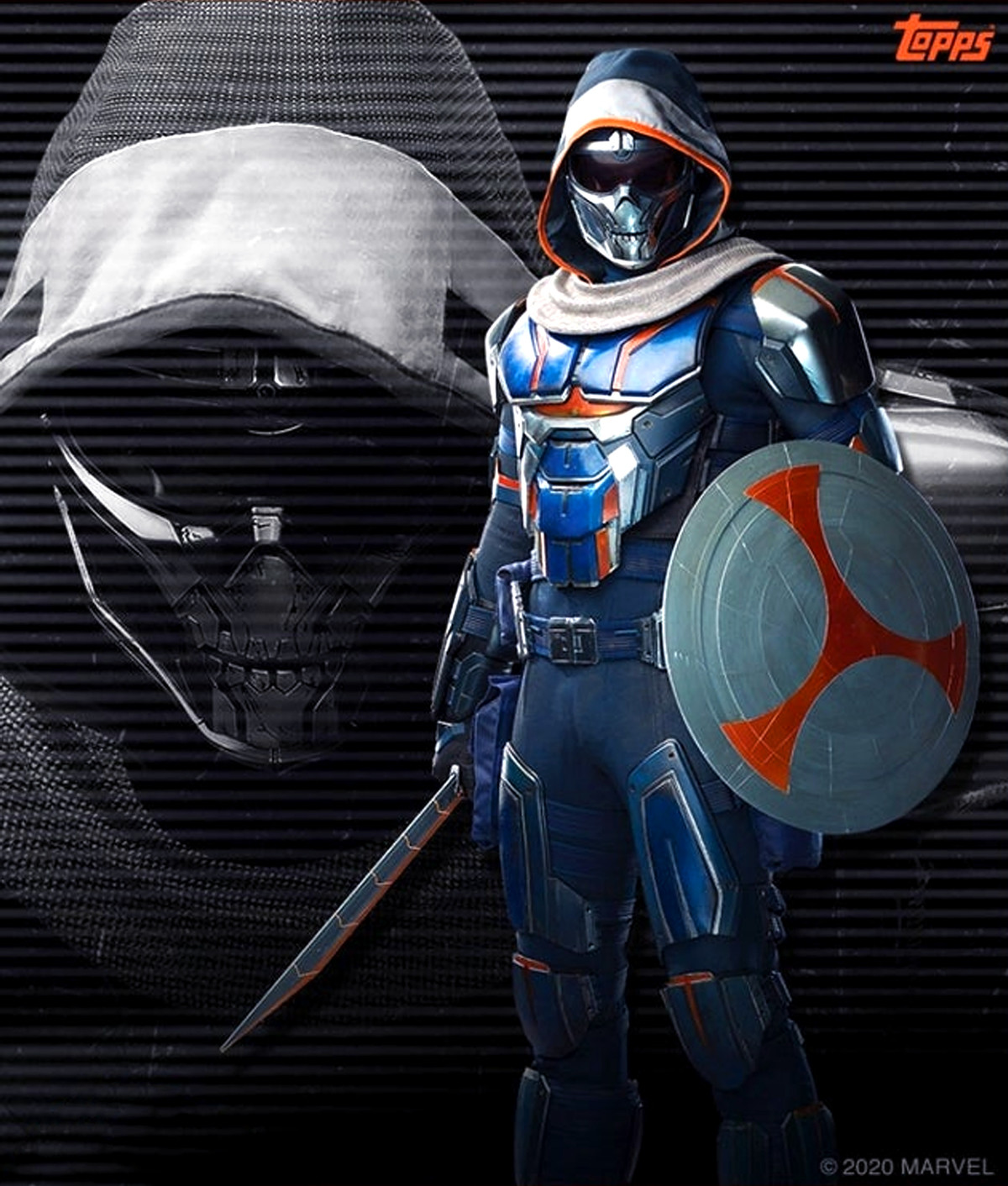 Taskmaster for the upcoming Black Widow movie. .. It's not bad, I'll admit But I'd prefer the mask to be white so it matches the skull mask in the comics, and I'd prefer a bit more white around the body. But as