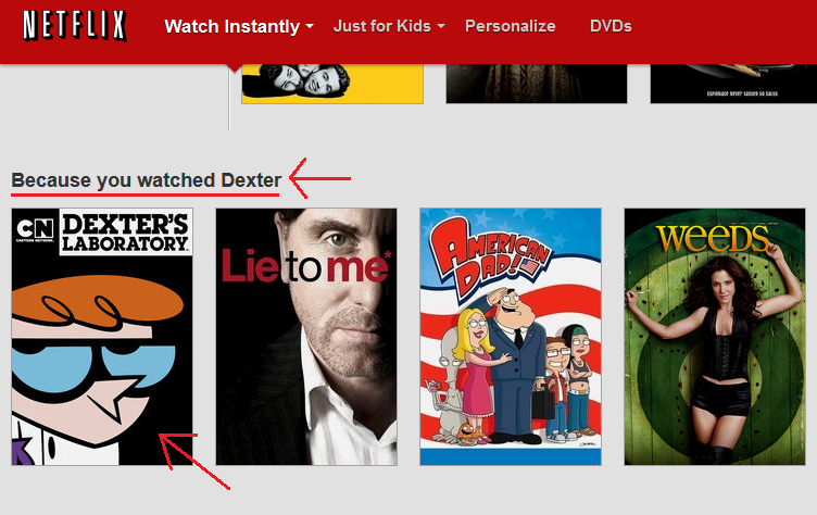 Thanks, Netflix.... ...it's like you know me.. N wll I L I K Watch Instantly Just fer Mule Personalize DVDS kiitti' l. Because you watched Dexter E