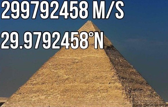 The Giza Pyramids and The Speed Of Light. The latitude, or the actual vertical position on Earth of the GIza Pyramids bear the same sequence of digits as the sp