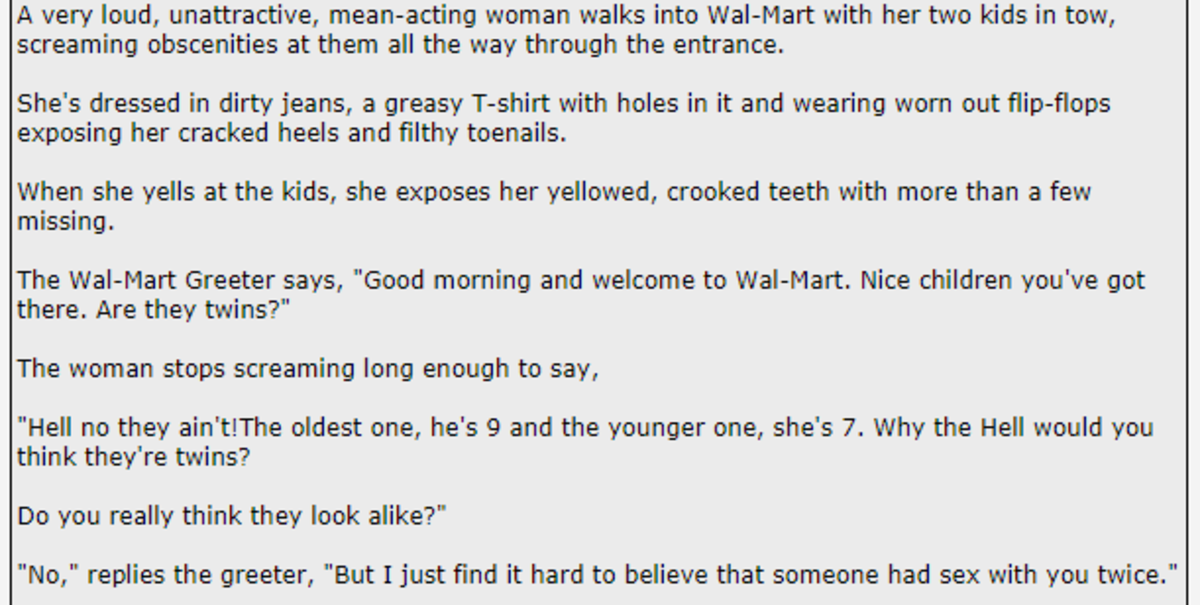 """""""The Greeter"""". .. I love this one because I've worked for Walmart for over 12 years and I want to be this blunt to every person who's a piece of ."""