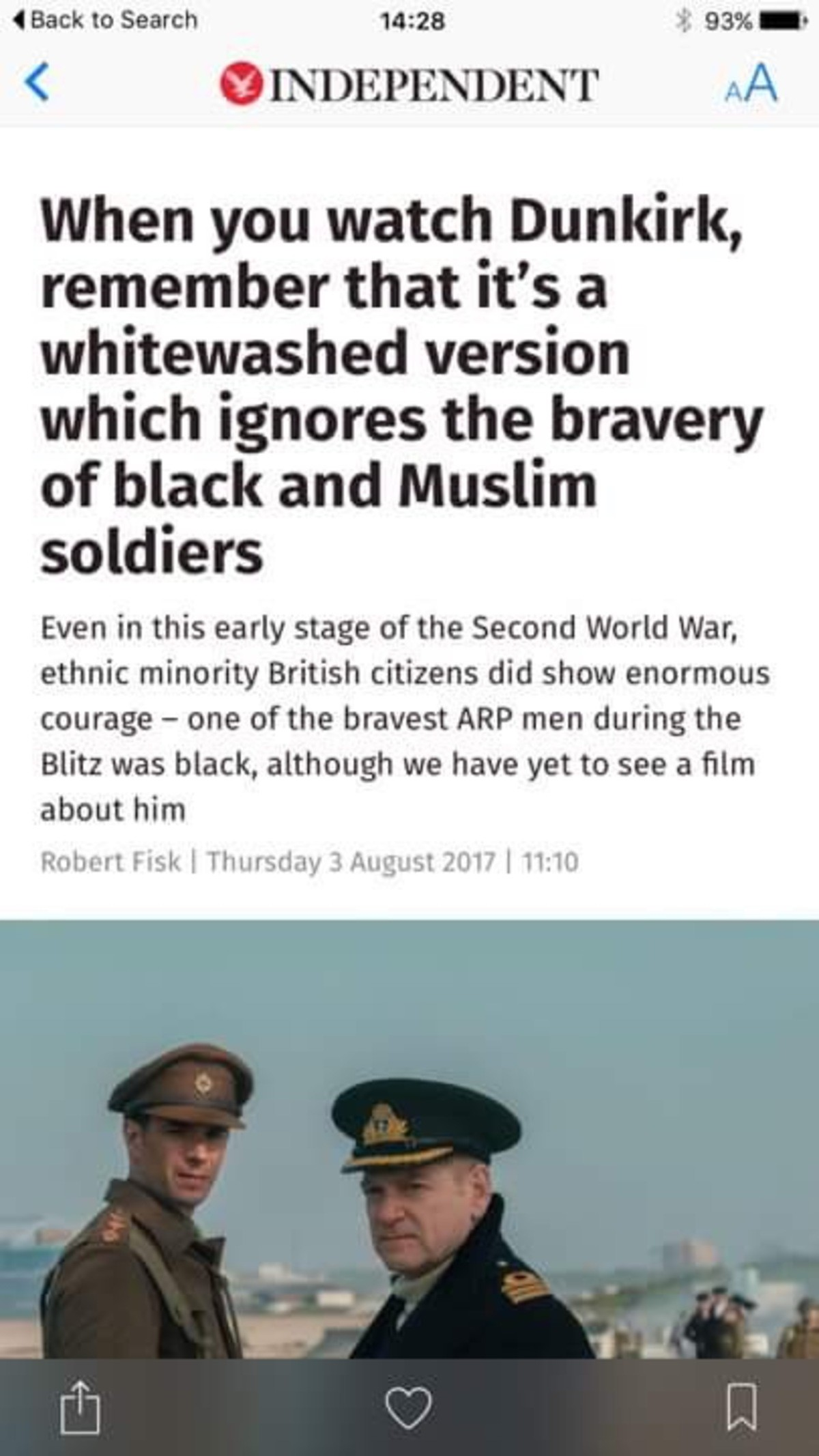 The independent are ing trash. . 4 to Search was t an - when you watch Dunkirk, remember that it' s a whitewashed version which ignores the bravery of black and