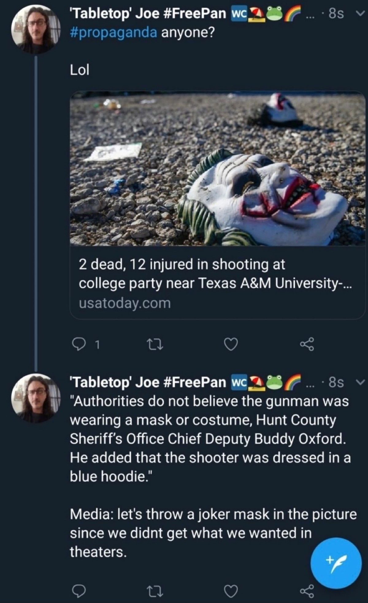 The Media. .. Man another Texas shooting, pathetic I thought Texans were baddass GUESS NOT