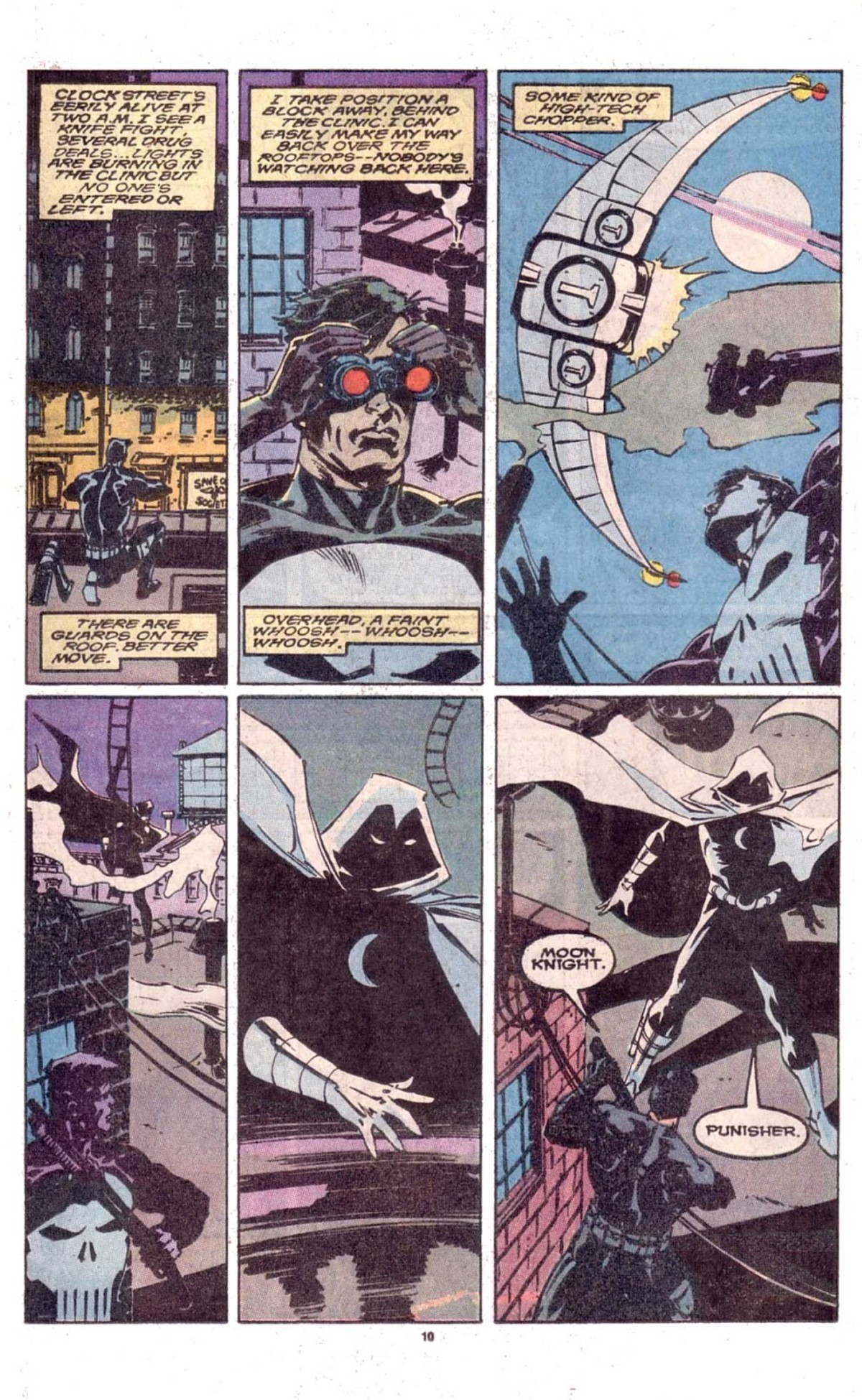 The Punisher and Moon Kht. Sauce: The Punisher (1987) Annual #2 https://readcomiconline.to/Comic/The-Punisher-1987/Annual-2?id=80517.. What a couple of gentlemen.