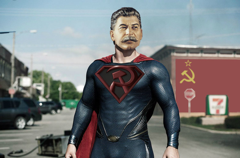 The REAL Man of Steel. Don't be gentle, thumb honestly. Is this even funny to you guys, or am I as alone as I think I am? OC, if that even means anymore... Needs more Mussolini
