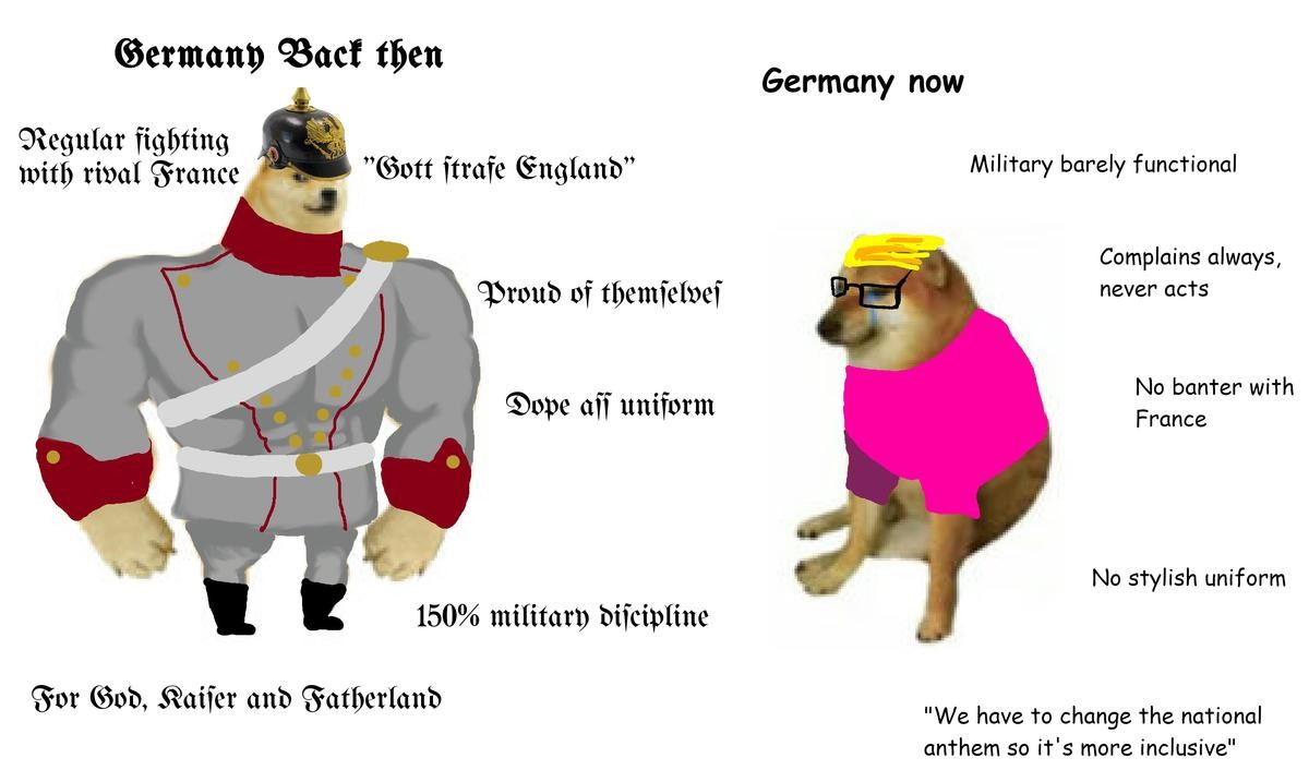 The Virgin Modern Germany vs The Chad Old Germany. Reich > Republik.. While the Kaiser's Weltpolitik was misguided, the Imperial regimes of Europe having its own problems, at this point the Republics are becoming increasingly unst