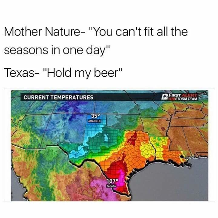 The weather. Sorry for being MIA, was on vacation with no reception and a busted phone. I'll post as often as I can. join list: Texas (166 subs)Mention History.