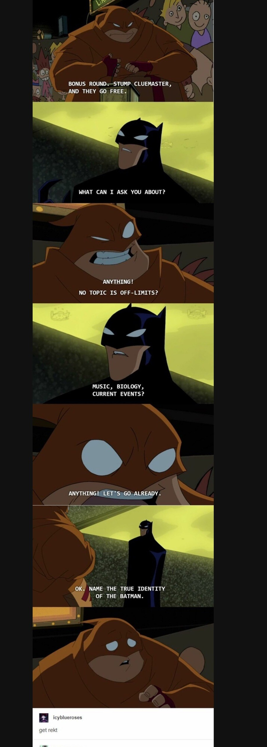 """this show was meh. .. >""""Bruce Willis is the Batman."""" >""""Wrong."""" >""""Prove it."""""""