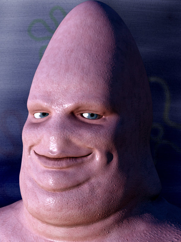 This is Patrick. Real life Patrick Star is disturbing... This is what happens when you dont tend and love your penis . it grows big and scary and stares at you in a perveted sense all night until you big toe grows a w