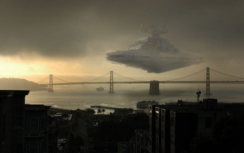 This would truly suck. ...in San Fransisco<br /> edit - look at it full size, bricks will be shat at 100 mph.. No, Its the Imperial Star Destroyer.