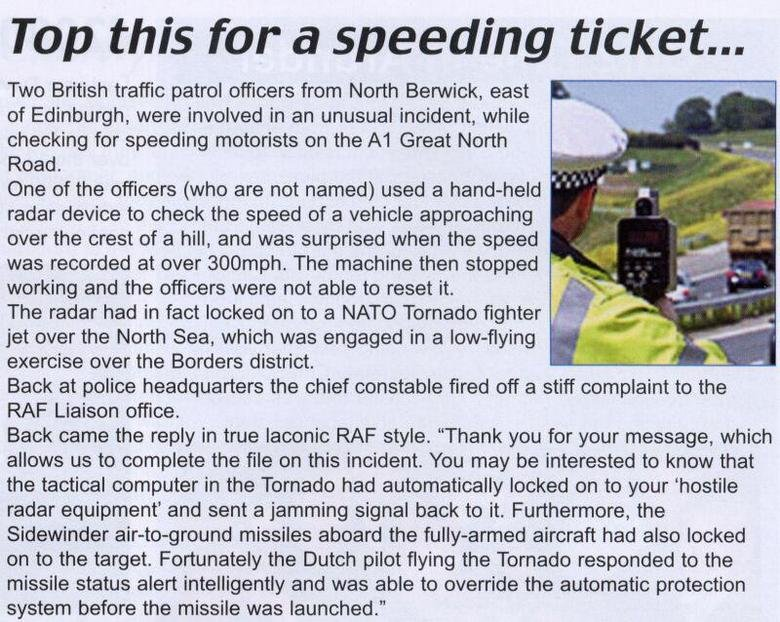 Top this for a speeding ticket!. Found this while stumbling. Thumb up or down.. Top this for a speeding ticket,,,,, Twe British traffic patrol officers from New