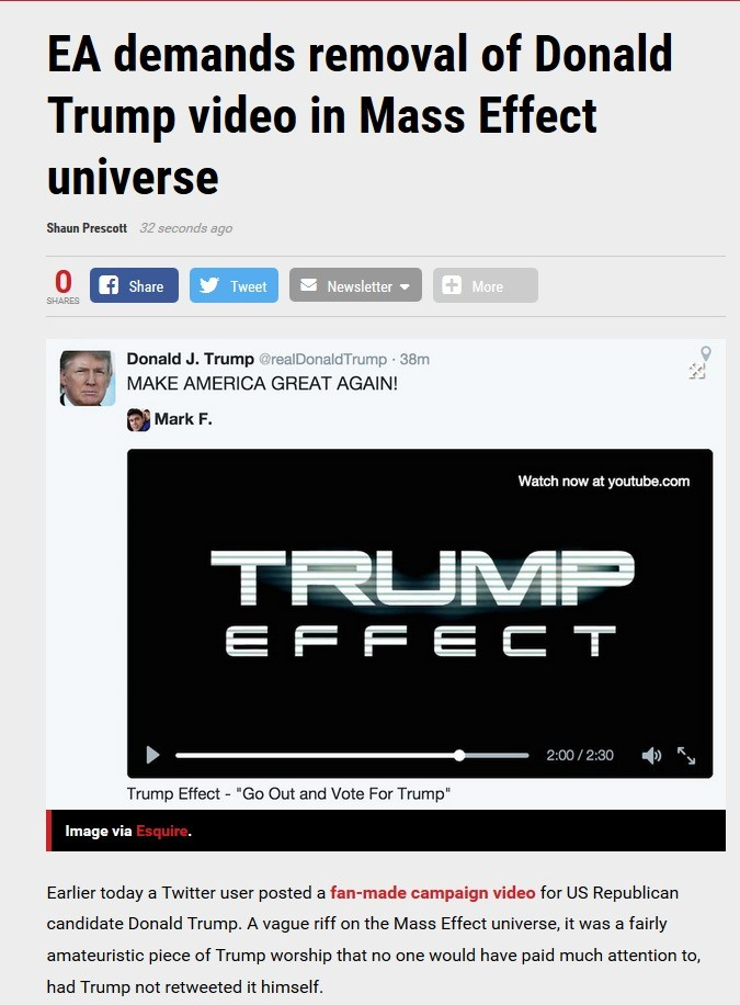 Trump EFFECT -READ SOURCE-. What do you all think? They have every right since the video used music from Mass Effect, image snipped from PC gamer- . EA demands