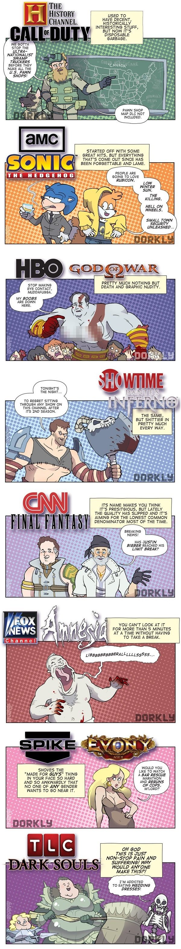 TV channels as video games.. Source: Dorkly.. USED TO HAVE DECENT, Al. LY INTERESTING STUFF, BUT NON IT' S M - GARBAGE. STOP THE l; Ileana, tale - BEFC-' RE THE