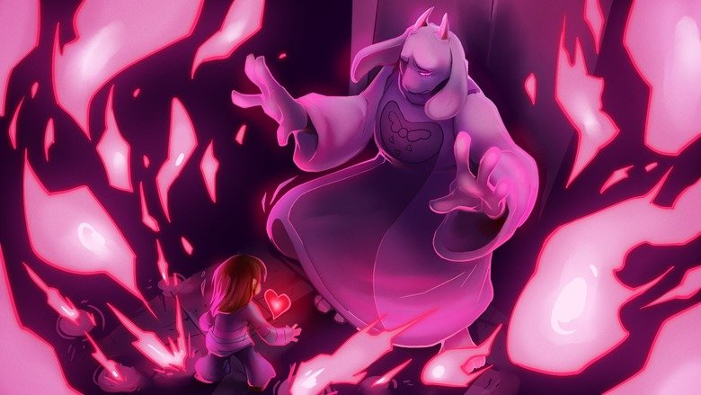 Undertale Art. Artist is .. Damn, these are fantastic. Best part is they're all in wallpaper size. I love how they put Frisk VS  in all of them except the Sans one, where it is