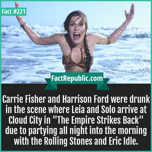 """unique facts. . Carrie Fisher and Harrison Ford were drunk in the scene where Leia and Solo arrive at Cloud City in """"The Empire Strikes Back"""" due to partying al"""