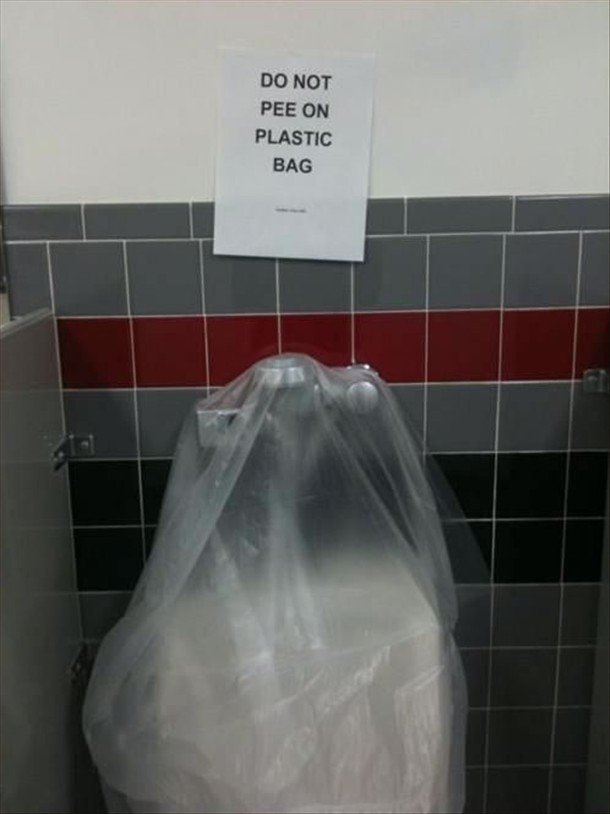 Urinal. Don't pee on plastic bag.. I would... when someone walked in it would be very awkward...