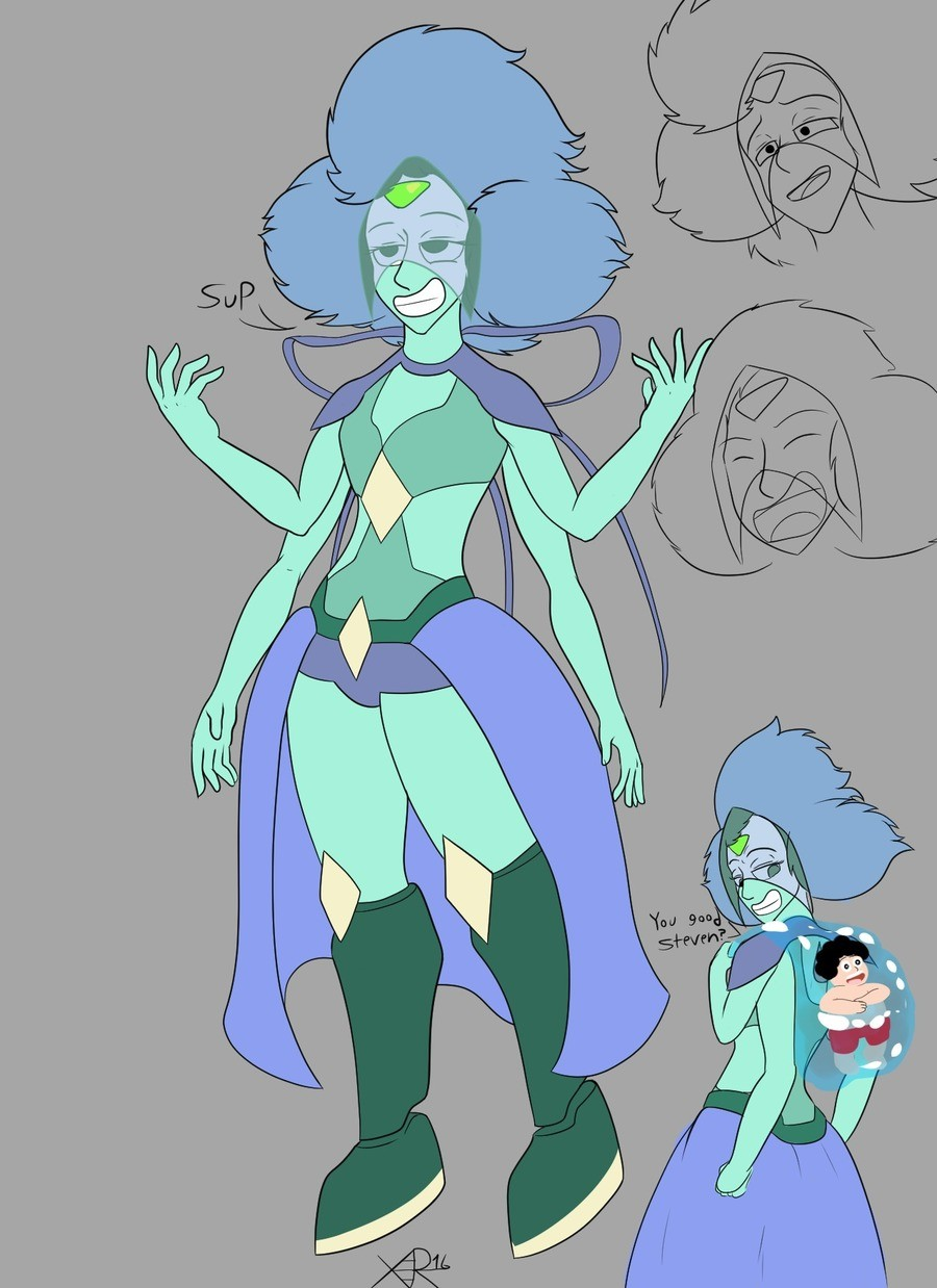 Variscite. So me and peep were talking about SU stuff and i brought up how Peridot and Lapis would look if they were to fuse. One thing led to another and we bo